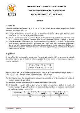 Química - Processo Seletivo Vest2016