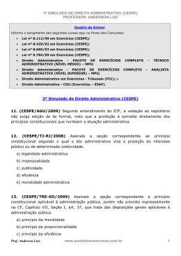 3º SIMULADO DE DIREITO ADMINISTRATIVO (CESPE)