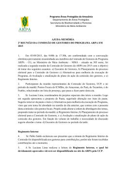 2ª Reunião da Comissão de Gestores do Programa Arpa (03/09/2015)
