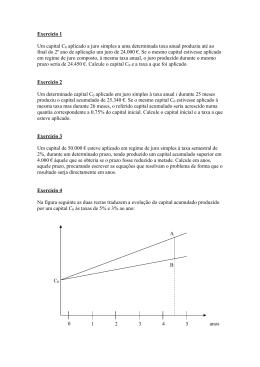 Exercício 1 Um capital C0 aplicado a juro simples a uma