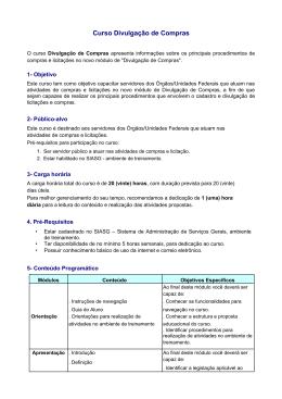 Informações do Curso - Portal de Compras do Governo Federal