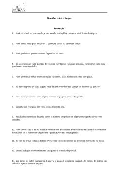 Questões teóricas longas Instruções 1. Você receberá em seu