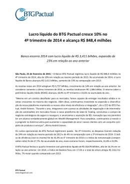 Lucro líquido do BTG Pactual cresce 10% no 4º trimestre de 2014 e