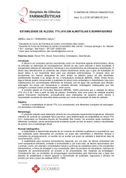 estabilidade de álcool 77% (v/v) em almotolias e