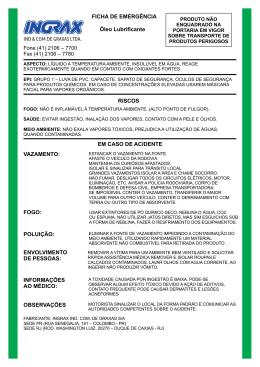 FICHA DE EMERGÊNCIA Óleo Lubrificante Fone (41) 2106