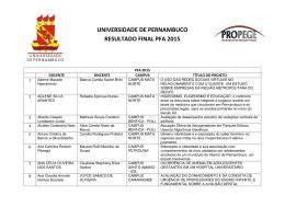 UNIVERSIDADE DE PERNAMBUCO RESULTADO FINAL