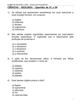 CIÊNCIAS – BIOLOGIA – Questões de 01 a 04