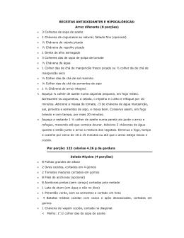 RECEITAS ANTIOXIDANTES E HIPOCALÓRICAS