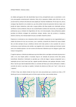 ESPAÇO PÚBLICO – Sistemas viários As cidades