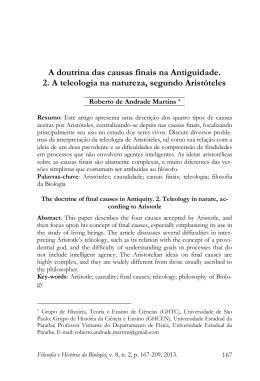 A doutrina das causas finais na Antiguidade. 2. A teleologia