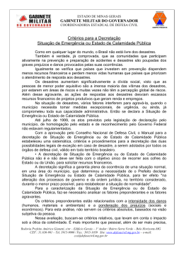 Critérios para a Decretação Situação de Emergência ou Estado de