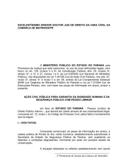 interdição cadeia de Pontal do Sul – MP/PR