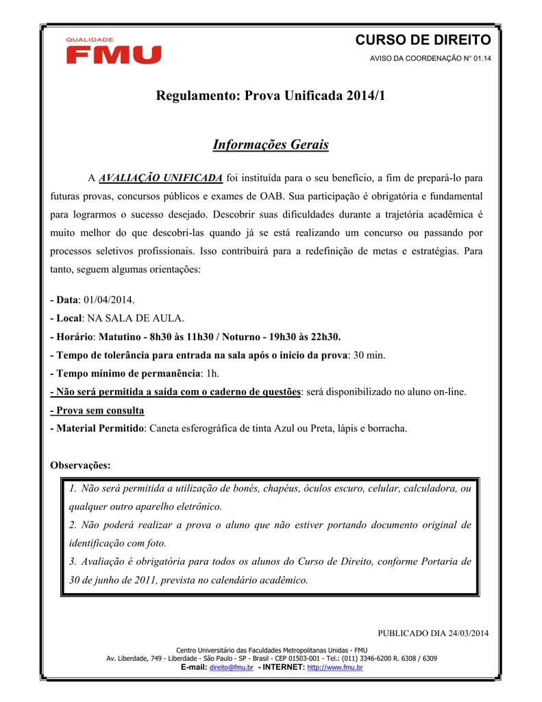 curso de direito regulamento prova unificada 2014 1