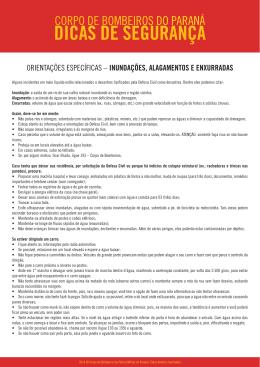 DICAS DE SEGURANÇA - Corpo de Bombeiros do Paraná