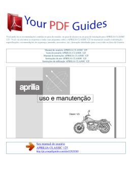 Manual de instruções APRILIA CLASSIC 125
