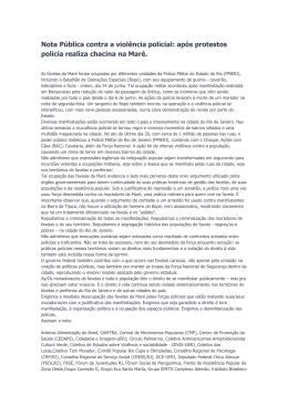Nota Pública contra a violência policial: após protestos polícia