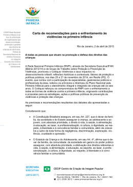 Carta de recomendações para o enfrentamento às violências na