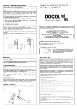 MANUAL DE INSTALAÇÃO TORNEIRA / MICTÓRIO ELETRÔNICOS