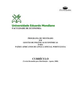 Universidade Eduardo Mondlane CURRÍCULO