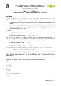 Tópico 05 - Seqüências Definição { }0n {