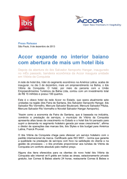 Accor expande no interior baiano com abertura de