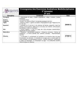 Cronograma dos Exercícios Avaliativos Multidisciplinares 3