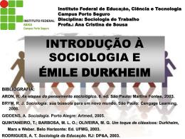 INTRODUÇÃO À SOCIOLOGIA E ÉMILE DURKHEIM