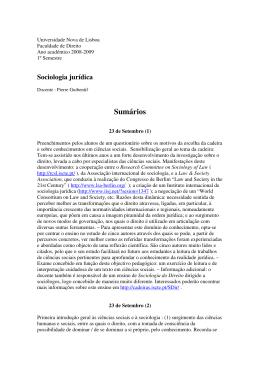 Sociologia jurídica - Faculdade de Direito da UNL