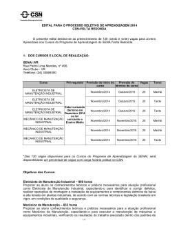 EDITAL PARA O PROCESSO SELETIVO DE