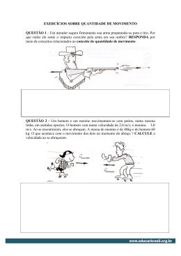 EXERCÍCIOS SOBRE QUANTIDADE DE MOVIMENTO QUESTÃO 1