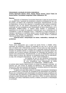 1 Interpretação e produção de textos matemáticos. Viviane