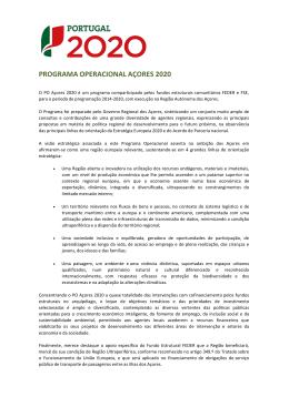 PROGRAMA OPERACIONAL AÇORES 2020