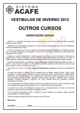 Vestibular ACAFE 2013/2 | Prova de Outros Cursos