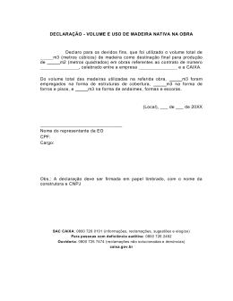 DECLARAÇÃO - VOLUME E USO DE MADEIRA