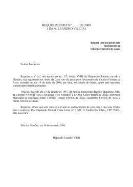 REQUERIMENTO N.º DE 2009 ( Do Sr. LEANDRO VILELA)