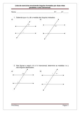 Lista de exercícios sobre angulos formados por duas retas e uma