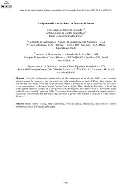 A elipsometria e os parâmetros do vetor de Stokes Andrade, N. S. O.