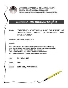 defesa de dissertação - Programa de Pós