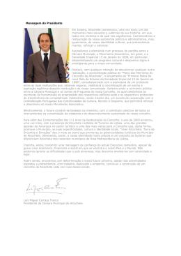 Mensagem do Presidente - janeiro 2009