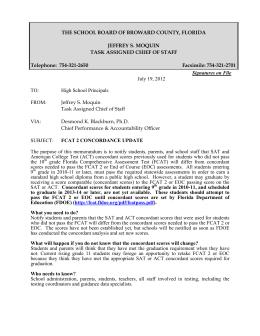 FCAT 2 Concordance Update
