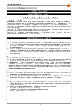 1 Prof. Fred PRIMEIRA AULA: ALGAS GABARITO OBJETIVAS