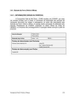 3.8 – Estrada de Ferro Vitória à Minas: 3.8.1