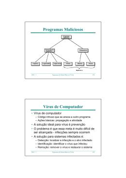 Programas Maliciosos Vírus de Computador