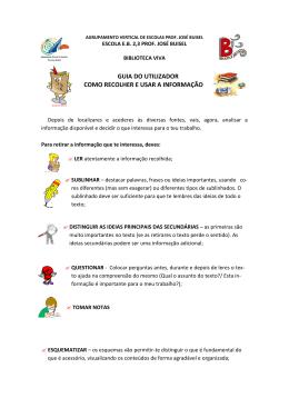 GUIA DO UTILIZADOR COMO RECOLHER E USAR A INFORMAÇÃO