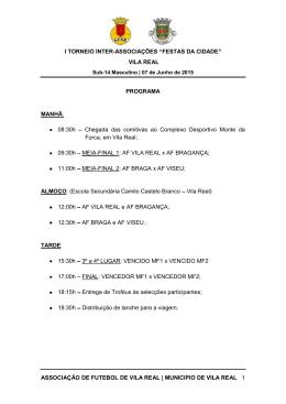Programa Torneio de Vila Real - Associação de Futebol de Bragança