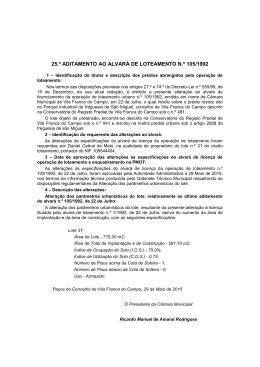 Alteração ao Alvará de Loteamento nº105/1992
