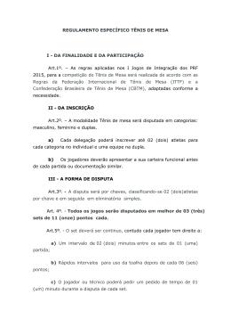REGULAMENTO ESPECÍFICO TÊNIS DE MESA I - DA - sinprf-sc