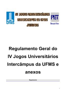 Regulamento dos Jogos - PREAE/UFMS