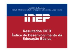 Resultados IDEB Índice de Desenvolvimento da Educação Básica