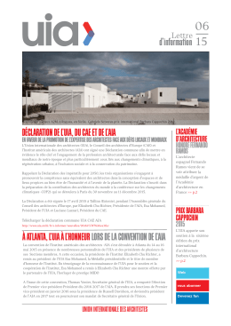N°6 - UNION INTERNATIONALE DES ARCHITECTES